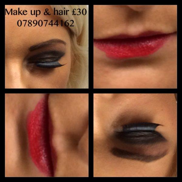 Black smokey & red lips