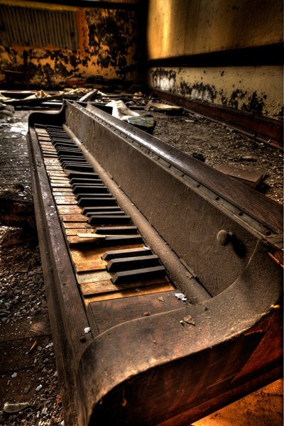Piano in an Abandoned Church in Detroit