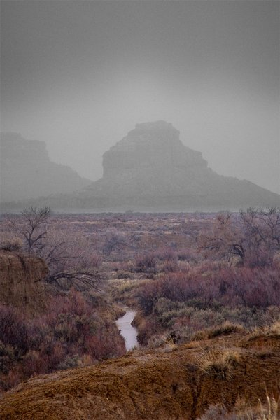 Fajada Butte through a Snowstorm