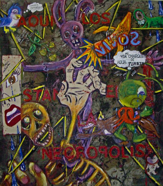 NOGALES/NECROPLOLIS 2007 Mixed Media On Canvas 5ft bt 5ft